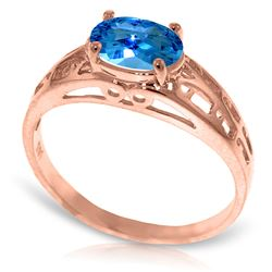 ALARRI 14K Solid Rose Gold Filigree Ring w/ Natural Blue Topaz