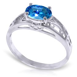 ALARRI 1.15 Carat 14K Solid White Gold Filigree Ring Natural Blue Topaz