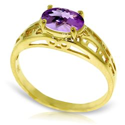 ALARRI 1.15 Carat 14K Solid Gold Filigree Ring Natural Purple Amethyst