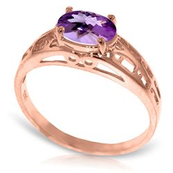 ALARRI 14K Solid Rose Gold Filigree Ring w/ Natural Purple Amethyst