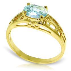 ALARRI 1.15 Carat 14K Solid Gold Filigree Ring Natural Aquamarine