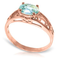 ALARRI 14K Solid Rose Gold Filigree Ring w/ Natural Aquamarine