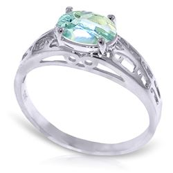 ALARRI 1.15 CTW 14K Solid White Gold Filigree Ring Natural Aquamarine
