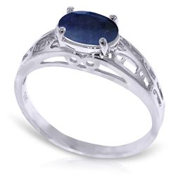 ALARRI 1.15 CTW 14K Solid White Gold Filigree Ring Natural Sapphire