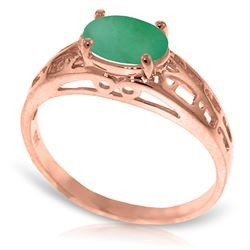 ALARRI 14K Solid Rose Gold Filigree Ring w/ Natural Emerald