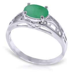 ALARRI 1.15 Carat 14K Solid White Gold Filigree Ring Natural Emerald