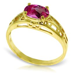 ALARRI 1.15 Carat 14K Solid Gold Filigree Ring Natural Pink Topaz
