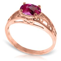 ALARRI 14K Solid Rose Gold Filigree Ring w/ Natural Pink Topaz