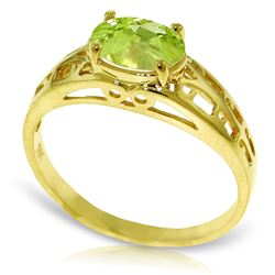 ALARRI .95 Carat 14K Solid Gold Filigree Ring Natural Peridot