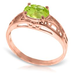 ALARRI 14K .95 Carat Solid Rose Gold Filigree Ring w/ Natural Peridot