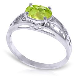 ALARRI .95 CTW 14K Solid White Gold Filigree Ring Natural Peridot