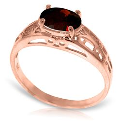 ALARRI 14K Solid Rose Gold Filigree Ring w/ Natural Garnet