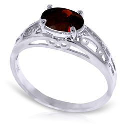 ALARRI 1.15 Carat 14K Solid White Gold Filigree Ring Natural Garnet