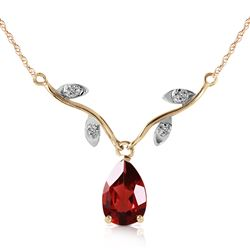 ALARRI 1.52 CTW 14K Solid Gold Shiny Personality Garnet Diamond Necklace