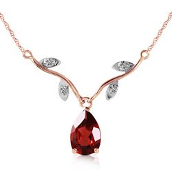 ALARRI 14K Solid Rose Gold Necklace w/ Natural Diamond & Garnet