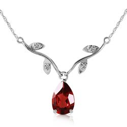 ALARRI 1.52 Carat 14K Solid White Gold Possibly Near Garnet Diamond Necklace