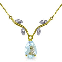 ALARRI 1.52 CTW 14K Solid Gold Necklace Natural Diamond Aquamarine