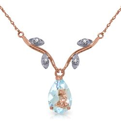 ALARRI 14K Solid Rose Gold Necklace w/ Natural Diamonds & Aquamarine