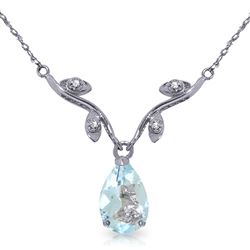 ALARRI 1.52 Carat 14K Solid White Gold Necklace Natural Diamond Aquamarine