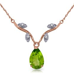 ALARRI 14K Solid Rose Gold Necklace w/ Natural Diamond & Peridot