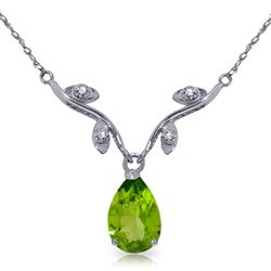 ALARRI 1.52 CTW 14K Solid White Gold Say That Again Peridot Diamond Necklace