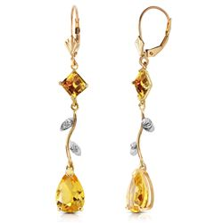 ALARRI 3.97 Carat 14K Solid Gold Romance Citrine Earrings