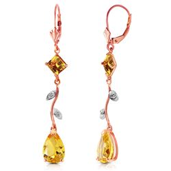 ALARRI 3.97 CTW 14K Solid Rose Gold Chandelier Earrings Diamond Citrine