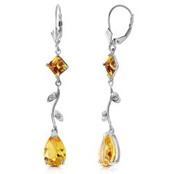 ALARRI 3.97 Carat 14K Solid White Gold Chandelier Earrings Diamond Citrine