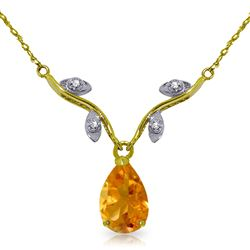 ALARRI 1.52 Carat 14K Solid Gold Sunny Heat Citrine Diamond Necklace