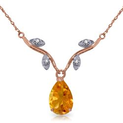 ALARRI 14K Solid Rose Gold Necklace w/ Natural Diamond & Citrine
