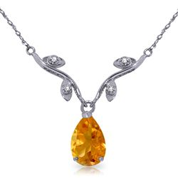 ALARRI 1.52 CTW 14K Solid White Gold Soul Of Wit Citrine Diamond Necklace