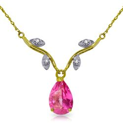 ALARRI 1.52 Carat 14K Solid Gold Burning Heat Pink Topaz Diamond Necklace
