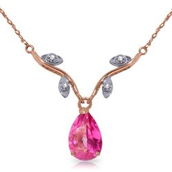 ALARRI 14K Solid Rose Gold Necklace w/ Natural Diamond & Pink Topaz