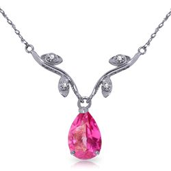 ALARRI 1.52 Carat 14K Solid White Gold Naturalive Moment Pink Topaz Diamond Necklace