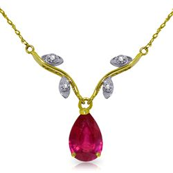 ALARRI 1.52 Carat 14K Solid Gold Sing No More Ruby Diamond Necklace