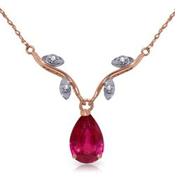 ALARRI 14K Solid Rose Gold Necklace w/ Natural Diamond & Ruby