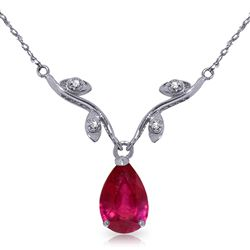 ALARRI 1.52 CTW 14K Solid White Gold Rosebud Ruby Diamond Necklace