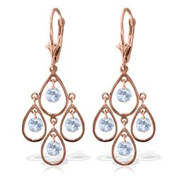 ALARRI 2.4 Carat 14K Solid Rose Gold Aquamarine Chandelier Drops