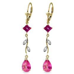 ALARRI 3.97 Carat 14K Solid Gold Chandelier Earrings Diamond Pink Topaz