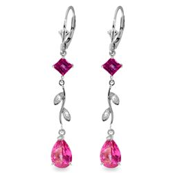 ALARRI 3.97 Carat 14K Solid White Gold Chandelier Earrings Diamond Pink Topaz