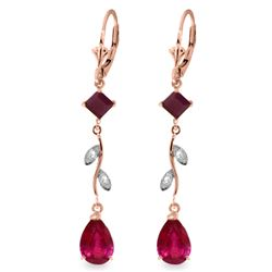 ALARRI 3.97 Carat 14K Solid Rose Gold Chandelier Earrings Diamond Ruby
