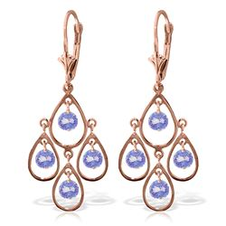ALARRI 2.4 CTW 14K Solid Rose Gold Chandelier Earrings Tanzanite