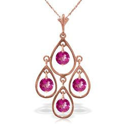 ALARRI 14K Solid Rose Gold Necklace w/ Natural Pink Topaz