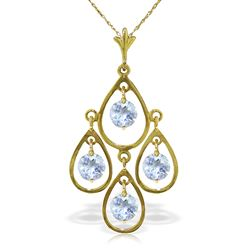 ALARRI 1.2 CTW 14K Solid Gold Love Droplets Aquamarine Necklace