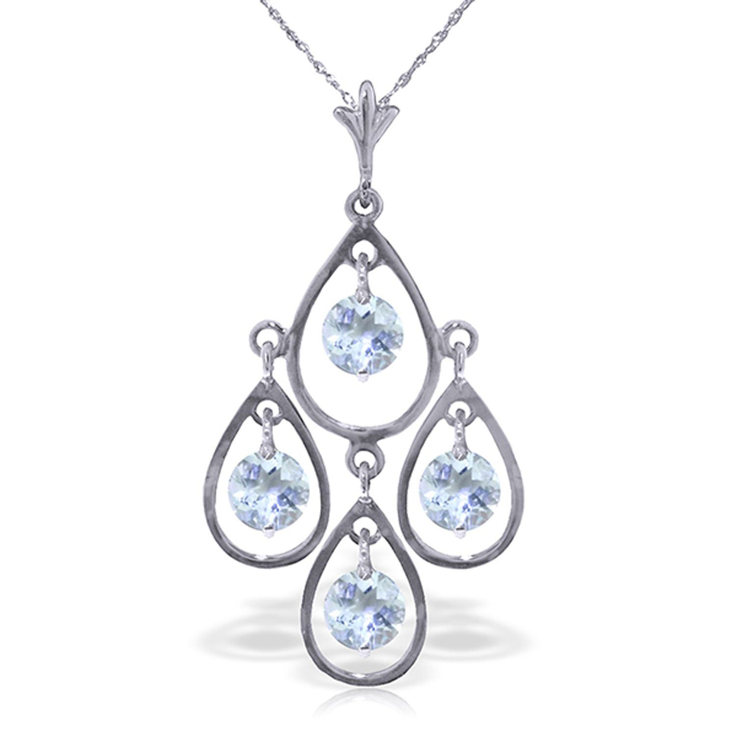 ALARRI 14K Solid Rose Gold Necklace w// Natural Diamond /& Aquamarines with 18 Inch Chain Length