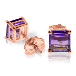 ALARRI 1.75 CTW 14K Solid Rose Gold Sparkle Amethyst Stud Earrings