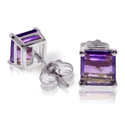 ALARRI 1.75 Carat 14K Solid White Gold Paradise Is Real Amethyst Earrings