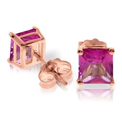 ALARRI 1.75 Carat 14K Solid Rose Gold Sparkle Pink Topaz Stud Earrings