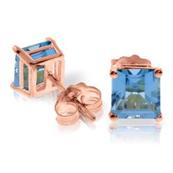 ALARRI 1.75 CTW 14K Solid Rose Gold Sparkle Blue Topaz Stud Earrings