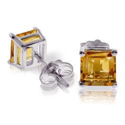 ALARRI 1.75 Carat 14K Solid White Gold This That Way Citrine Earrings